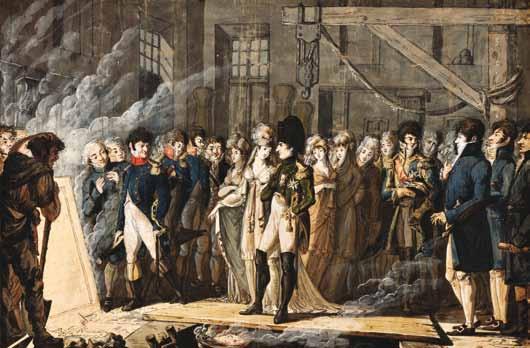 ÉCOLE FRANÇAISE - NAPOLÉON ET MARIE-LOUISE VISITANT UNE FONDERIE LE 7 NOVEMBRE 1811 À LIÈGE