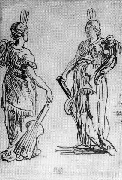 Ferdinand Victor Eugène DELACROIX - DEUX FEMMES D'APRES L'ANTIOUE