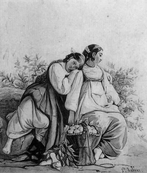 Léopold ROBERT - DEUX JEUNES FEMMES ASSISES