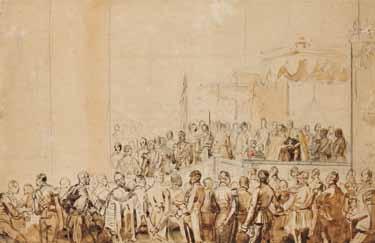 LAMI Eugène - CÉRÉMONIE EN PRÉSENCE DE LA REINE VICTORIA ET DU PRINCE ALBERT
