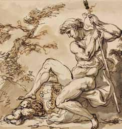 LEMONNIER Anicet - HOMME ASSIS ET DEUX ANGELOTS