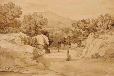 PONTHUS-CINIER Antoine Claude - PAYSAGE D'ITALIE