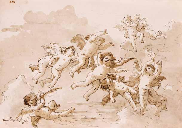 TIEPOLO Giovanni Domenico - GROUPE D'AMOURS SUR DES NUÉES