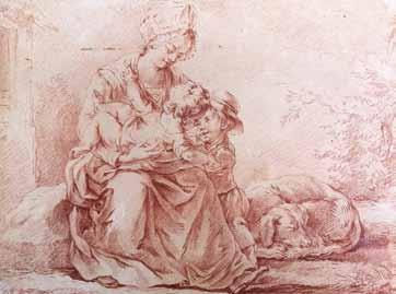 HUET Jean-Baptiste - FEMME ET SES DEUX ENFANTS