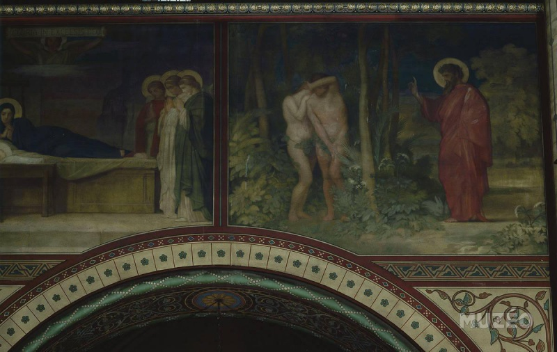 Adam et Eve chassés du Paradis, deuxième travée du côté gauche de la nef de l'église de Saint-Germain-des-Prés