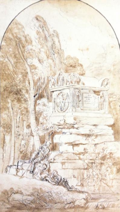 Augustin PAJOU - PAYSAGE ANIMÉ AU SARCOPHAGE