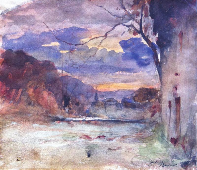 François-Auguste RAVIER - PAYSAGE DE CAMPAGNE ET MAISON
