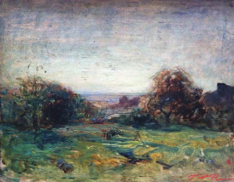 François Auguste RAVIER - PAYSAGE DE LA CAMPAGNE LYONNAISE