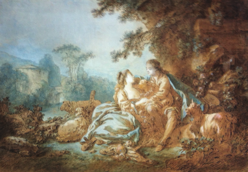 Jean-Baptiste HUET - COUPLE AUX MOUTONS ET CHÈVRES