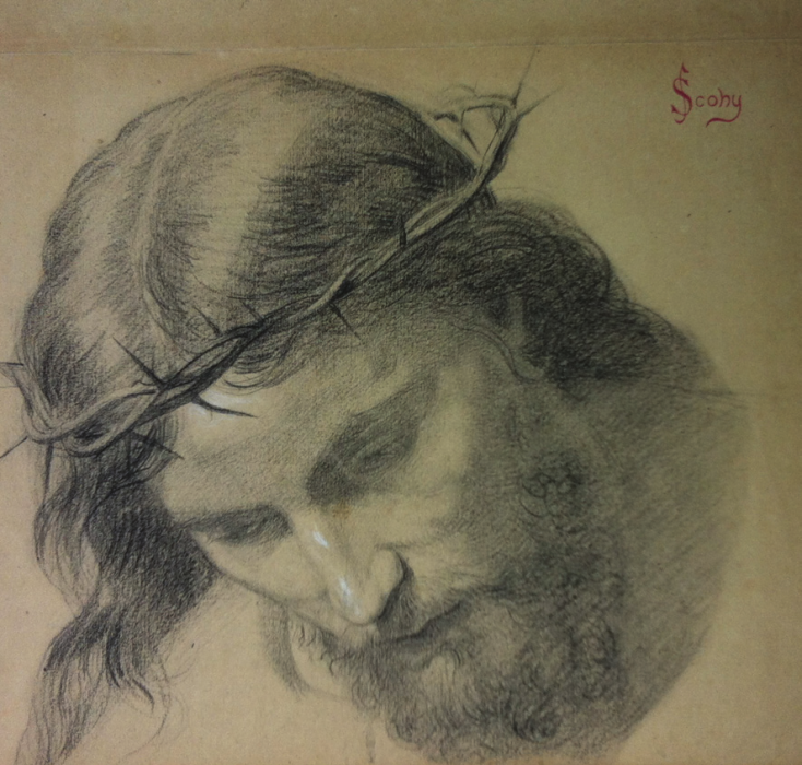 Jean SCOHY - TÊTE DE CHRIST À LA COURONNE D'ÉPINES