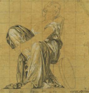 BARRIAS Félix Joseph - Etude de femme assise drapée