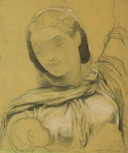 BARRIAS Félix Joseph - Femme drapée, le bras levé, avec son enfant