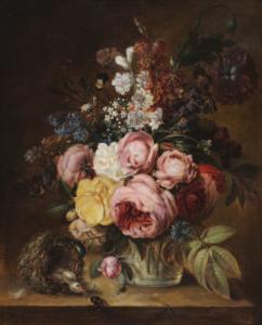 ECOLE LYONNAISE - Nature morte aux fleurs, nid et abeilles