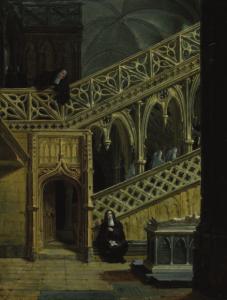 JACQUANT Claudius - Religieuses dans un intérieur néo-gothique