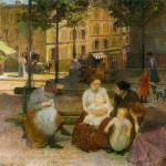 Jeunes femmes sur la place Ravignan à Montmartre