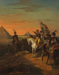 DUMOULIN François Aimé Louis - LE GÉNÉRAL BONAPARTE DEVANT LES PYRAMIDES