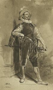 MEISSONIER Jean Louis Ernest - UN MOUSQUETAIRE