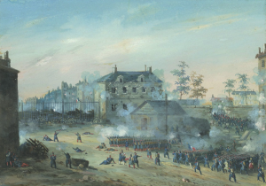 """BAZIN Eugène - """"LA PRISE DE LA BARRIÈRE POISSONNIÈRE PAR LA GARDE NATIONALE EN 1848"""""""