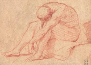 """ECOLE FRANÇAISE, 18e siècle - """"HOMME NU ASSIS"""""""