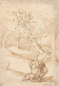 """ECOLE ITALIENNE, 16e siècle - """"LE TIREUR À L'ARC"""""""
