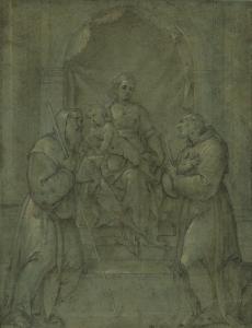 """ECOLE ITALIENNE, FIN DU 16e siècle - """"LA VIERGE ET L'ENFANT JÉSUS ENTOURÉS DE SAINTS"""""""