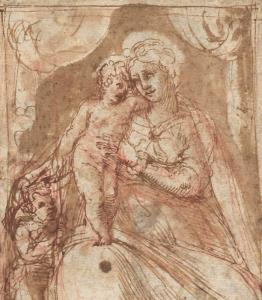 """ECOLE ITALIENNE, VERS 1550 - """"VIERGE À L'ENFANT AVEC SAINT JEAN-BAPTISTE"""""""