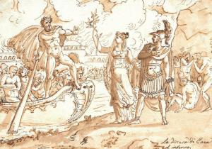 """ECOLE ITALIENNE, VERS 1800 - """"LA DESCENTE D'ÉNÉE AUX ENFERS"""""""