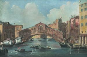 """ECOLE ITALIENNE, VERS 1830 - """"VENISE, VUE DU RIALTO"""""""
