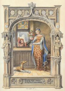"LANGLOIS Eugène Hyacinthe - ""SCÈNE TROUBADOUR"""