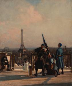 """LEROUX Jules Marie Auguste - """"PIÈCE D'ARTILLERIE EN HAUT DE L'ARC DE TRIOMPHE"""""""