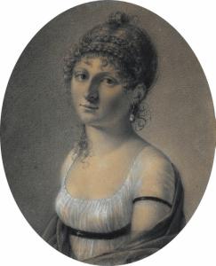 """LIÉNARD Jean Auguste Edouard - """"PORTRAIT DE JEUNE FEMME"""""""