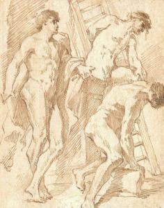 """PANINI Giovanni Paolo - """"ÉTUDE DE TROIS HOMMES NUS"""""""