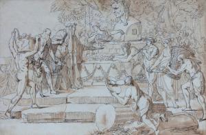 """LEBARBIER Jean-Jacques (attribué à) - """"SCÈNE MYTHOLOGIQUE"""""""