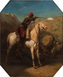 """GUÉRARD Eugène Charles François - """"SCÈNE MILITAIRE EN ALGÉRIE"""""""