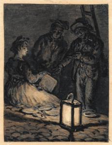 "NORBLIN De la Gourdaine Jean Pierre - ""SCÈNE DE RUE NOCTURNE"""