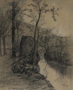 """APPIAN Adolphe - """"PAYSAGE À LA RIVIÈRE"""""""