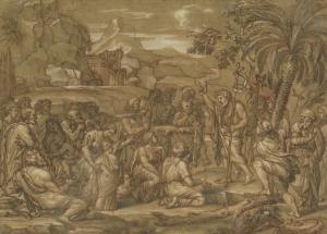 """CORNEILLE Michel II, Dit CORNEILLE DES GOBELINS (Attribué à) - """"LA PRÉDICATION DE SAINT JEAN-BAPTISTE"""""""