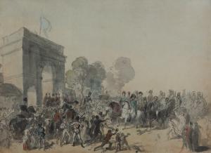 """ÉCOLE FRANÇAISE - """"ENTRÉE DES SOUVERAINS ALLIÉS À PARIS LE 31 MARS 1814 PAR LA PORTE SAINT MARTIN"""""""