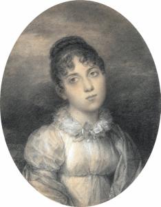 """ÉCOLE FRANÇAISE - """"PORTRAIT D'ADÈLE AUGUIÉ (1788-1813), VEUVE DU GÉNÉRAL ARMAND DE BROC"""""""