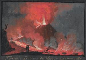 """ÉCOLE ITALIENNE, NAPLES - """"ÉRUPTION DU VÉSUVE EN 1769"""""""