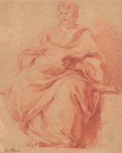 """LEMOYNE François - """"PERSONNAGE DRAPÉ ASSIS"""""""