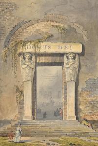 """THIBAULT Jean Thomas - """"PORTE D'ÉGLISE DE CAMPAGNE"""""""